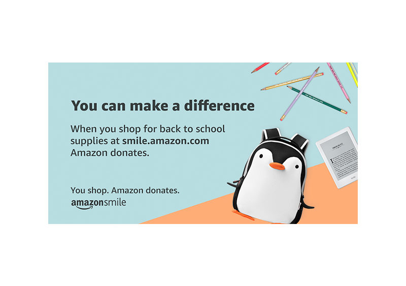 You can make a difference. When you shop for back to school supplies at smile.amazon.com Amazon donates. You shop. Amazon donates.